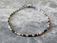 Black & Champagne Gold Seed Bead Fashion Anklet | Silver Sensations